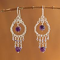 Amethyst and iolite chandelier earrings, 'Lilac Light'