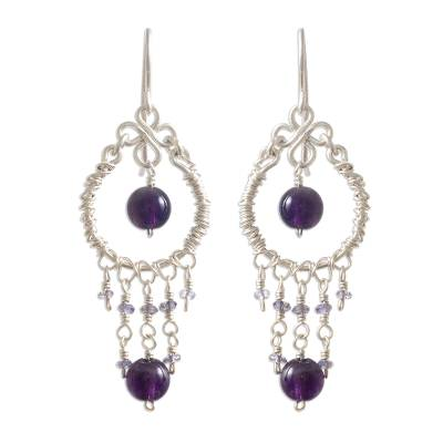 Amethyst and iolite chandelier earrings, 'Lilac Light' - Amethyst and iolite chandelier earrings