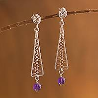 Amethyst dangle earrings, 'Silver Net' - Amethyst dangle earrings