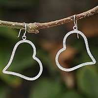 Sterling silver heart earrings, 'Two As One' - Sterling silver heart earrings