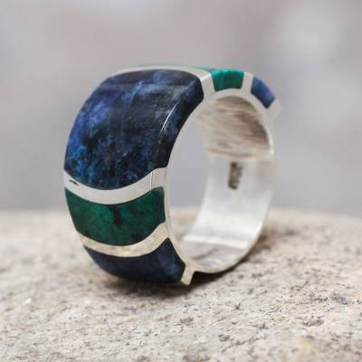 Sodalite and chrysocolla band ring, 'Moche Princess' - Fine Silver Band Chrysocolla Sodalite Ring from Peru