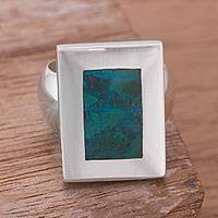 Chrysocolla cocktail ring, 'Rectangular Sea'