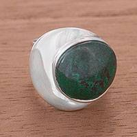 Chrysocolla dome ring, 'World of Green' - Hand Made Fine Silver Domed Chrysocolla Ring