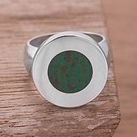 Chrysocolla cocktail ring, 'Circular Sea' - Chrysocolla and Sterling Cocktail Ring