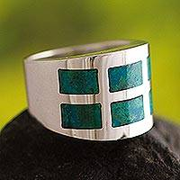 Chrysocolla band ring, 'Windows' - Chrysocolla band ring