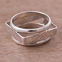 Silver band ring, 'Conversion' - Silver band ring