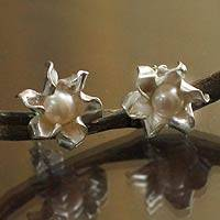 Pearl button earrings, 'Glorious Flower' - Floral Fine Silver and Pearl Earrings from Peru
