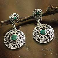 Chrysocolla dangle earrings, 'Sun God' - Chrysocolla dangle earrings