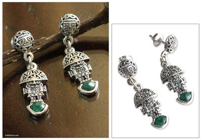 Chrysocolla dangle earrings, 'Inca Deity' - Chrysocolla dangle earrings