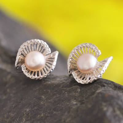 Pearl button earrings, 'Seashell' - Fine Silver Sea Life Pearl Button Earrings