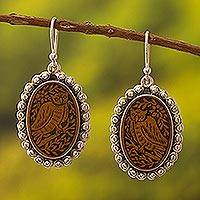 Sterling silver and mate gourd dangle earrings, 'Nocturnal Sage' - Sterling silver and mate gourd dangle earrings