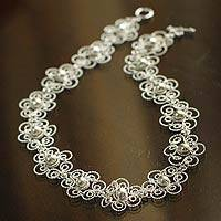 Silver collar necklace, 'Princess Lace' - Fair Trade Floral Fine Silver Collar Necklace
