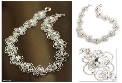 Silver collar necklace, 'Princess Lace' - Fair Trade Floral Fine Silver Collar Necklace