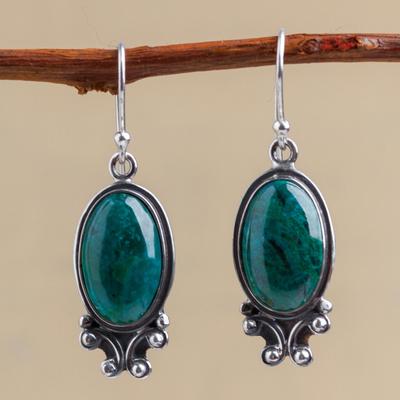 Chrysocolla dangle earrings, 'Andean Mystique' - Unique Sterling Silver Dangle Chrysocolla Earrings