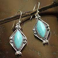 Amazonite dangle earrings, 'Peruvian Muse' - Amazonite and Silver Dangle Earrings