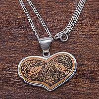 Sterling silver and mate gourd heart necklace, 'Lovebird Romance' - Peruvian Heart Shaped Mate Gourd Pendant Bird Necklace