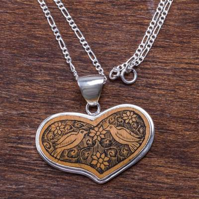 Peruvian Heart Shaped Mate Gourd Pendant Bird Necklace