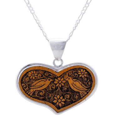 Sterling silver and mate gourd heart necklace, 'Lovebird Romance' - Peruvian Heart Shaped Mate Gourd Pendant Bird Necklace