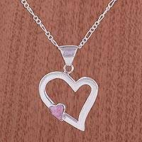 Rhodonite heart necklace, 'Secret Love' - Heart Shaped Sterling Silver Pendant Rhodonite Necklace