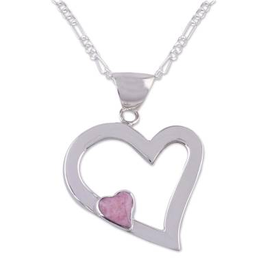 Rhodonite heart necklace, 'Secret Romance' - Heart Shaped Sterling Silver Pendant Rhodonite Necklace