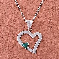 Chrysocolla heart necklace, 'Secret Love' - Silver Necklace Chrysocolla Heart Sterling 925 Peru
