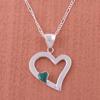 Chrysocolla heart necklace, 'Secret Romance' - Silver Necklace Chrysocolla Heart Sterling 925 Peru
