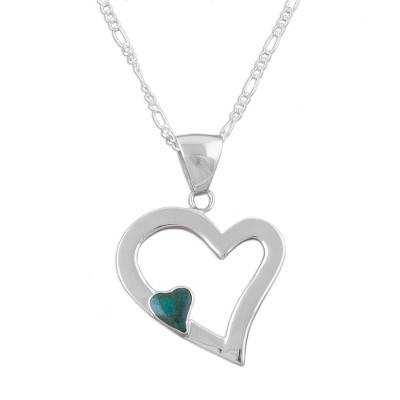 Silver Necklace Chrysocolla Heart Sterling 925 Peru