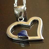 Sodalite heart necklace, 'Secret Love' - Heart Pendant Necklace Sodalite 925 Sterling Silver Jewelry