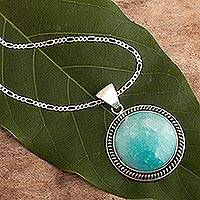 Amazonite pendant necklace, 'Moon Over Lima'