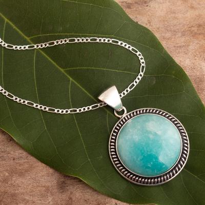 Amazonite pendant necklace, 'Moon Over Lima' - Sterling Silver Pendant Amazonite Necklace