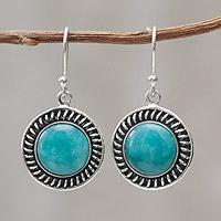 Amazonite dangle earrings, 'Moon Over Lima'