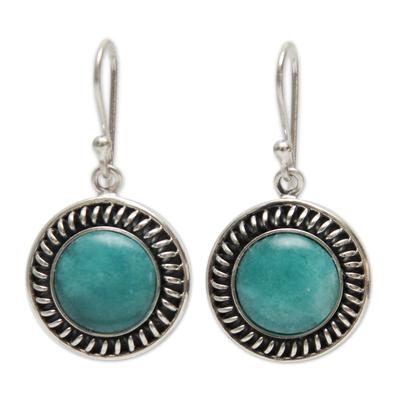 Amazonite dangle earrings, 'Moon Over Lima' - Hand Made Sterling Silver Dangle Amazonite Earrings