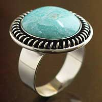 Amazonite cocktail ring, 'Moon Over Lima'