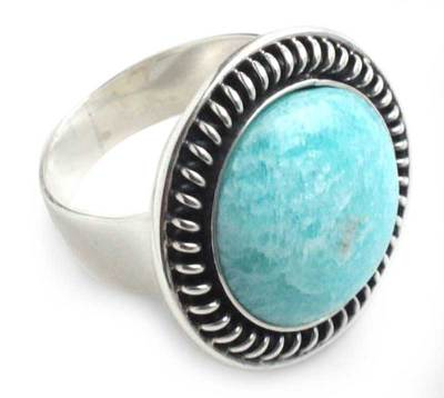 Amazonite cocktail ring, 'Moon Over Lima' - Amazonite cocktail ring