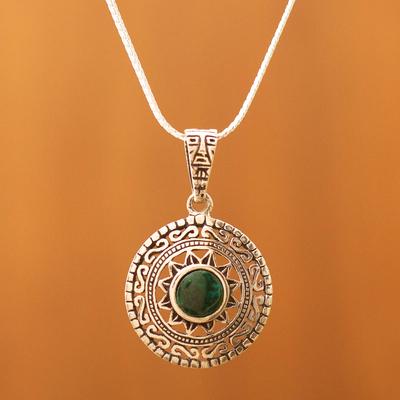 Chrysocolla pendant necklace, 'Sun God' - Fine Silver Green Chrysocolla Pendant Necklace