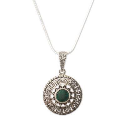 Fine Silver Green Chrysocolla Pendant Necklace