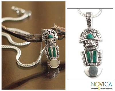 Chrysocolla pendant necklace, 'Inca Deity' - Chrysocolla pendant necklace