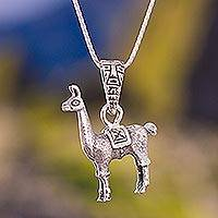 Silver pendant necklace, 'Little Llama'