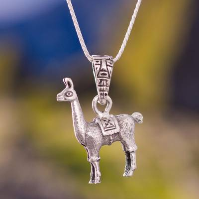 Silver pendant necklace, 'Little Llama' - Handcrafted Sterling Silver Necklace
