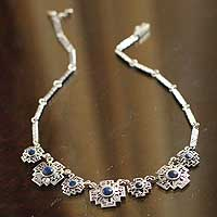 Sodalite waterfall necklace, 'Inca Cross' - Sodalite waterfall necklace