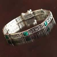 Chrysocolla wristband bracelet, 'Andean World' - Unique Peru Silver and Chrysocolla Wristband Bracelet