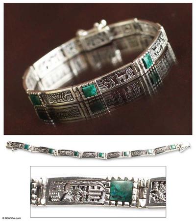 Chrysocolla wristband bracelet, 'Andean World' - Unique Peru Silver and Chrysocolla Wristband Bracelet