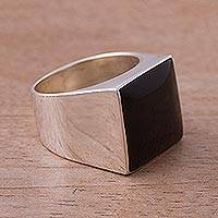 Obsidian solitaire ring, 'Dark Lake' - Obsidian solitaire ring
