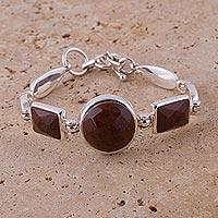 Mahogany obsidian pendant bracelet,