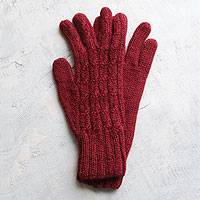 100% alpaca gloves, 'Lush Rose' - Handcrafted Alpaca Wool Gloves from Peru