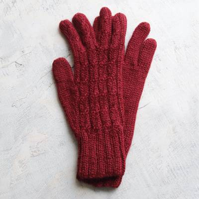100% alpaca gloves, 'Lush Rose' - 100% alpaca gloves