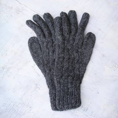 100% alpaca gloves, 'Lush Grey' - Alpaca Wool Gloves from Peru