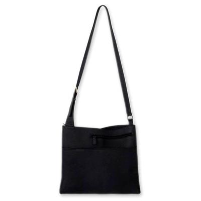 Leather handbag, 'Midnight' - Fair Trade Black Leather Sling Handbag