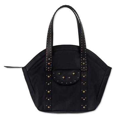 Novica Leather handbag, Modern Contrasts - Brown Peruvian Leather Handbag