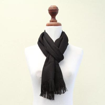 100% alpaca scarf, 'Elegant Ebony' - Black Hand Made Finest Alpaca Wool Scarf